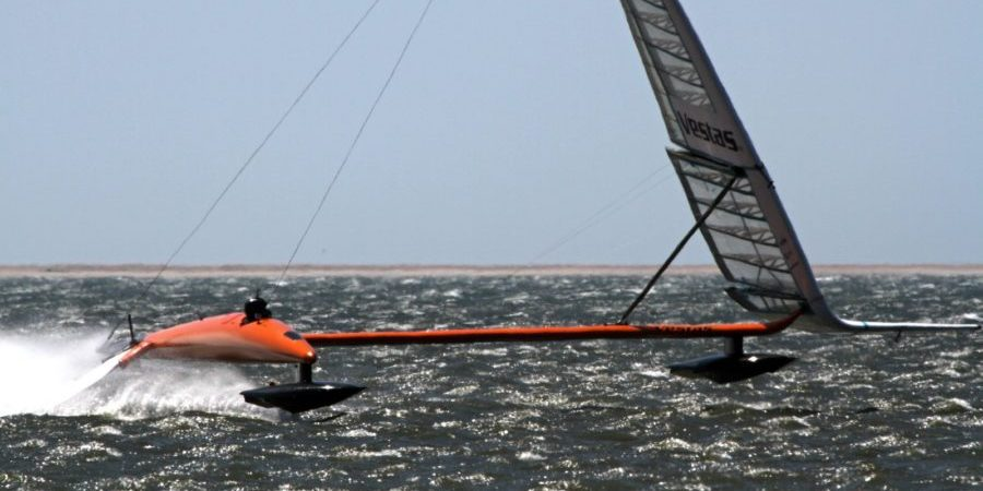 The world's fastest sailboat, Paul Larsen's Vestas Sailrocket 2