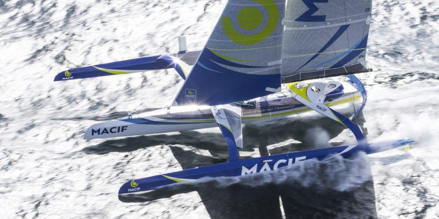 Aerial image bank of the Maxi Trimaran Ultim MACIF, skipper Francois Gabart, off Les Glenans, brittany, west France, on march 29, 2016 - Photo Jean Marie Liot / DPPI / MACIF