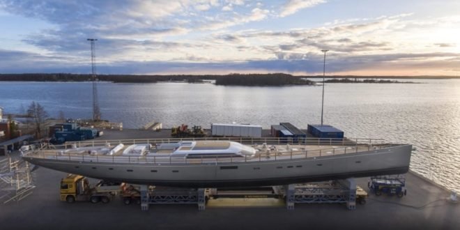Baltic 175 Pink Gin VI, the World's Largest Carbon Fibre Sloop, takes the Road. VIDEO